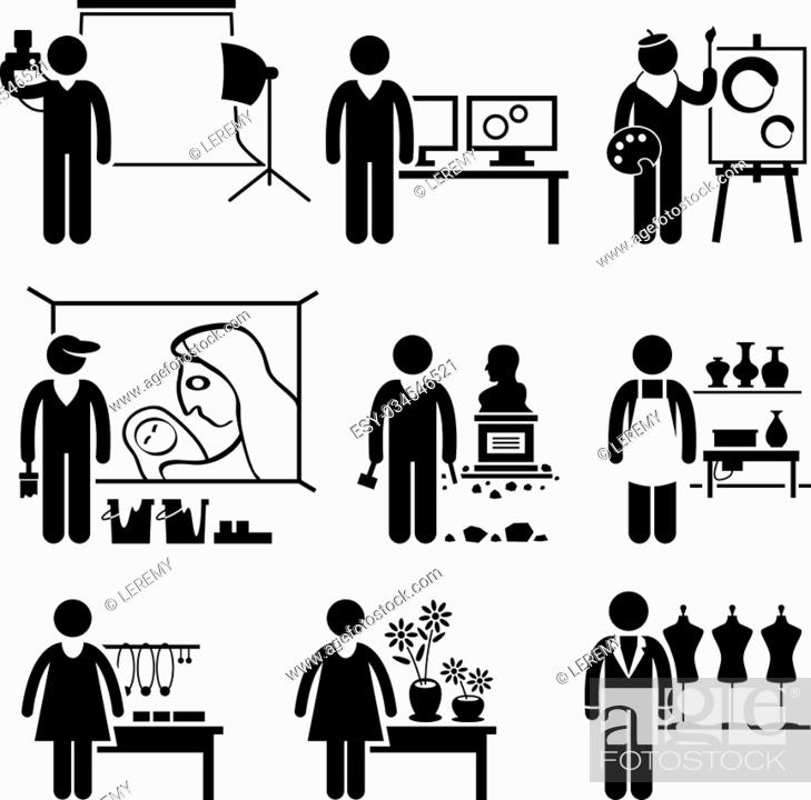 Stock Vector: A set of pictograms showing the professions of people in the artistic industry.