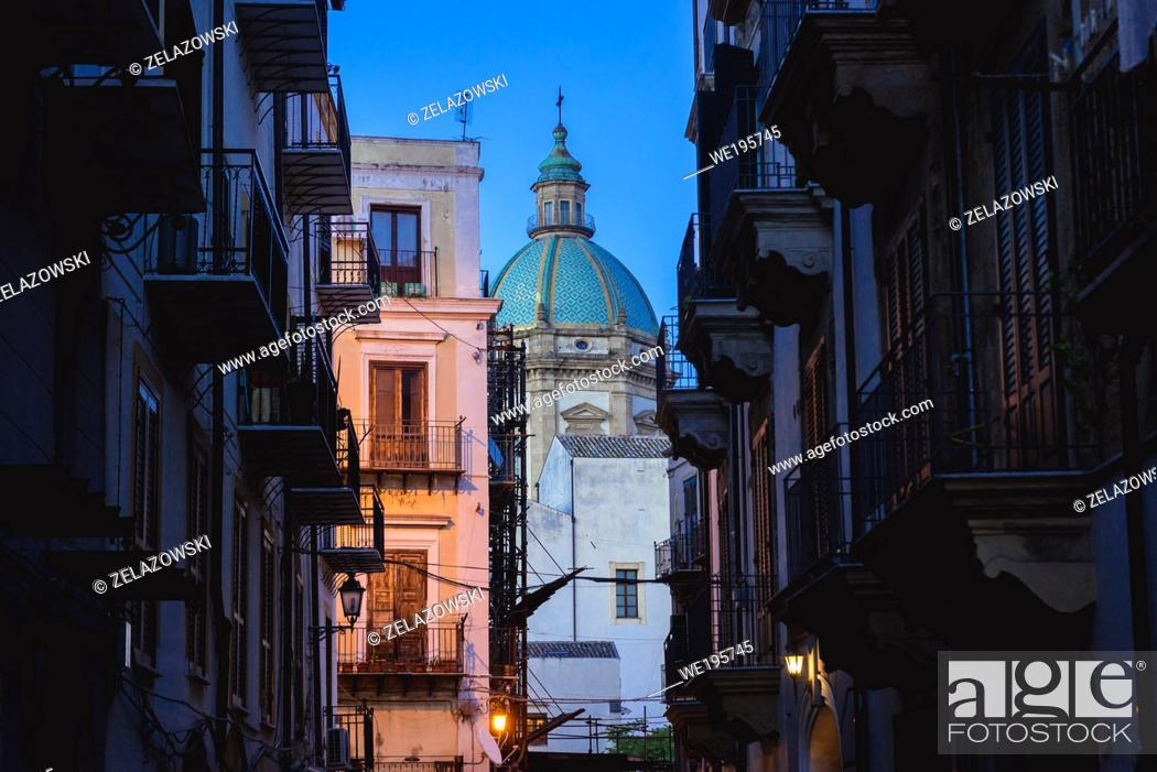 Stock Photo: Dome of Church of Jesus also called Casa Professa in Palermo city of Southern Italy, the capital of autonomous region of Sicily.