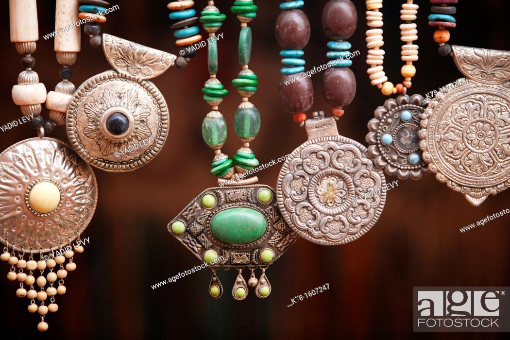 Stock Photo: Bedouin silver jewellery, Petra, Jordan.