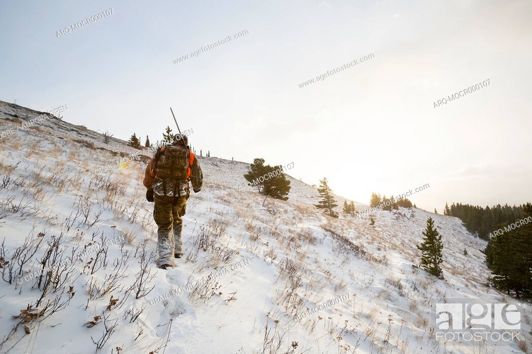 Imagen: A male hunter at sunrise in the snow.