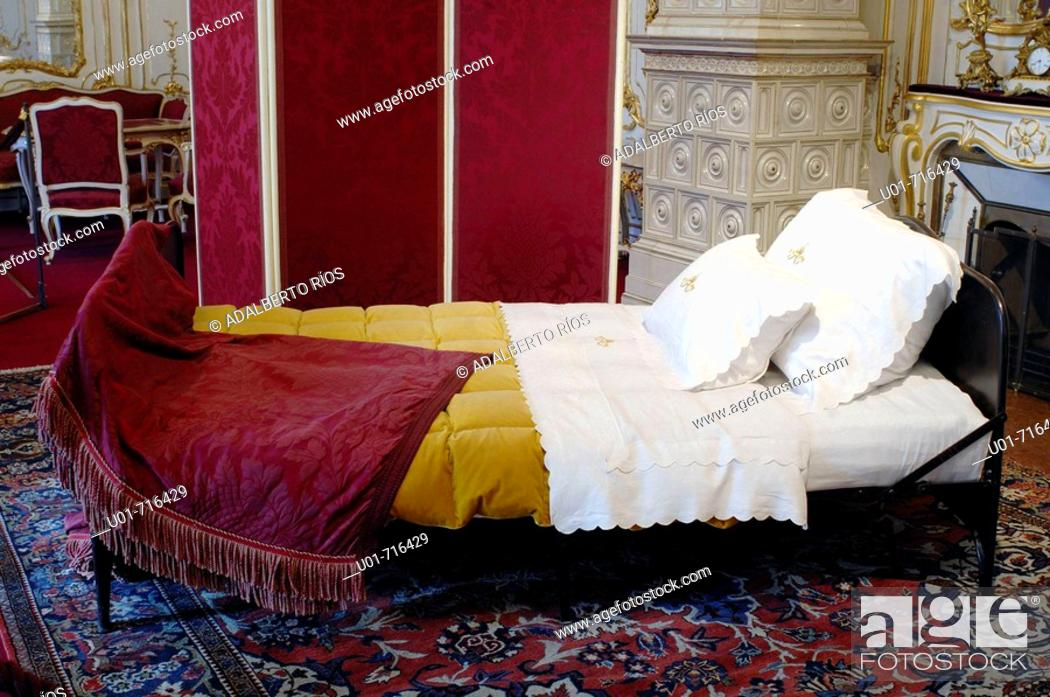Stock Photo: Empress Sissi's iron bed in the Imperial chambers. Hofburg palace. Vienna. Austria.