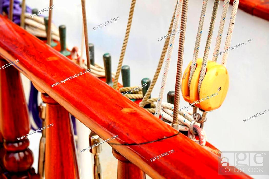 Stock Photo: Ship rigging on old yacht.