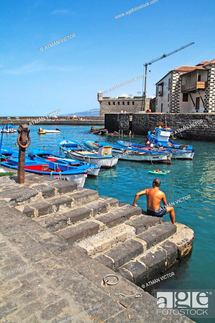 Stock Photo: Fishing port, Puerto de la Cruz, Tenerife, Canary Islands, Spain.