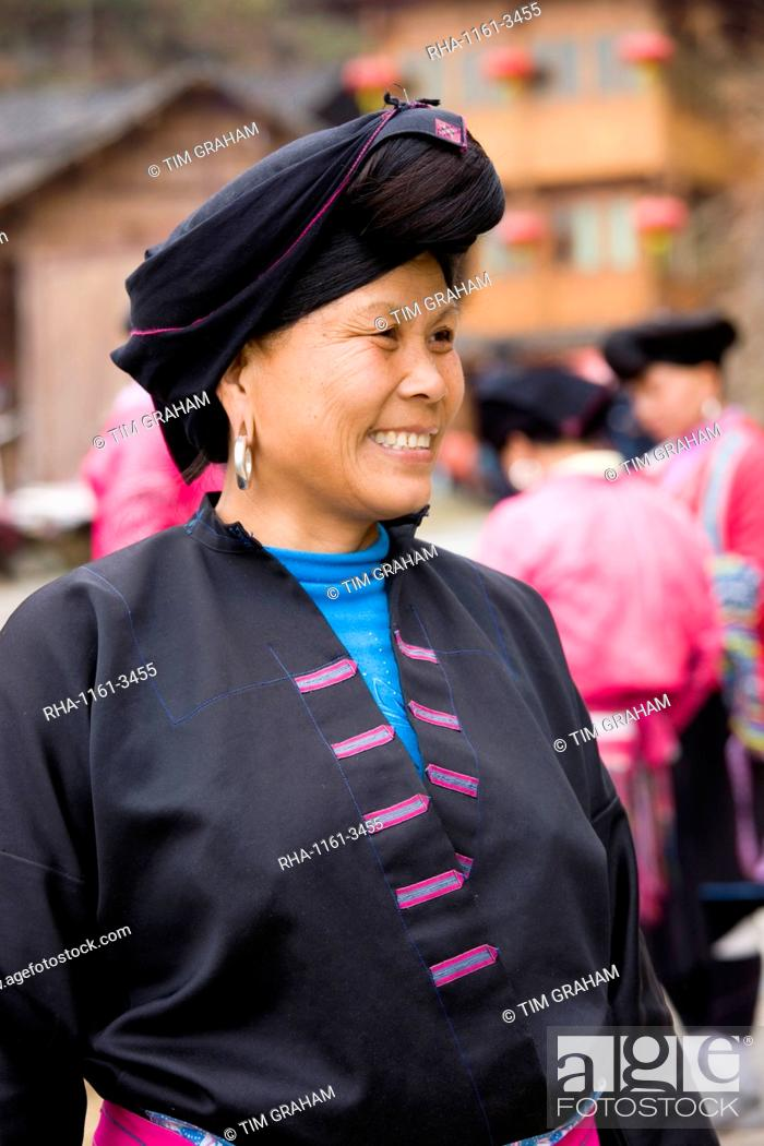 Stock Photo: Woman from Yao minority nationality with traditional long hair according to folk custom, Ping An, Guilin, China.