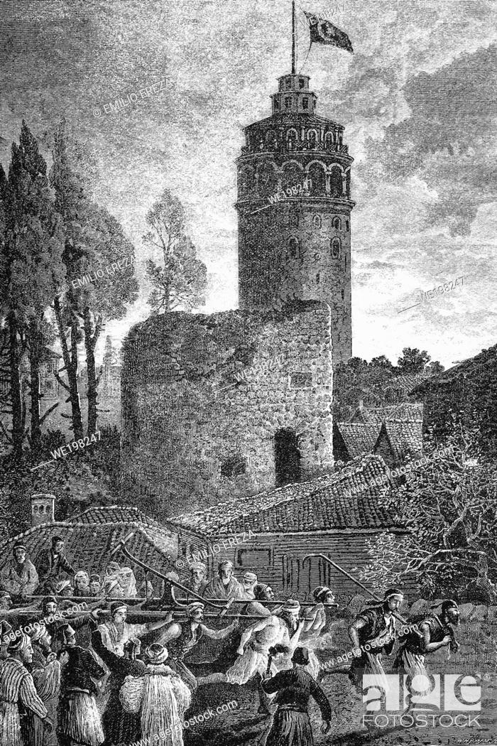 Stock Photo: Galata tower, also called Christea Turris, during a fire. Istambul, Turkey. Antique illustration. 1886.