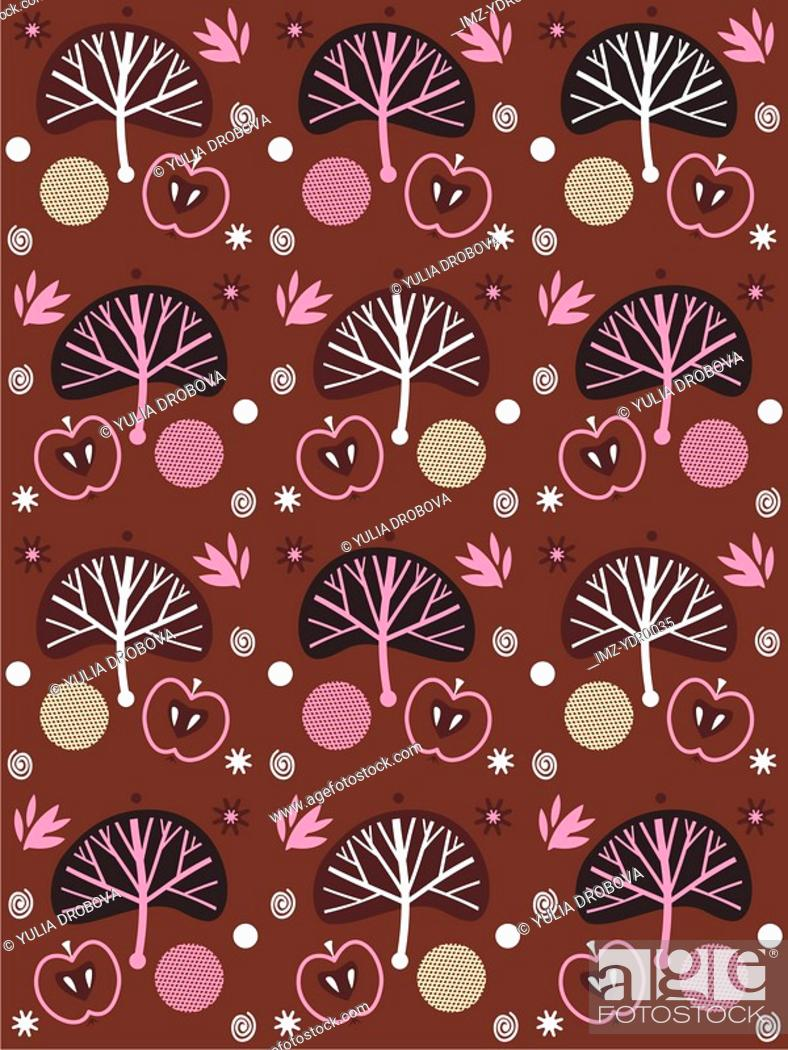 Stock Photo: A pattern of apples and trees.