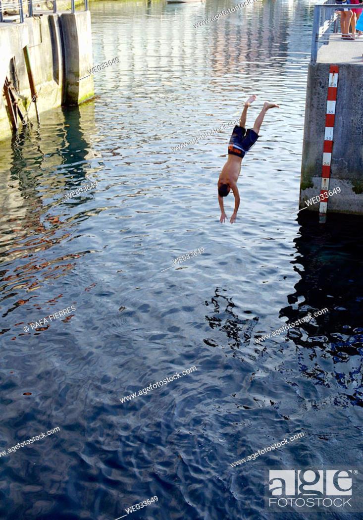 Stock Photo: Diving, Llanes. Asturias, Spain.