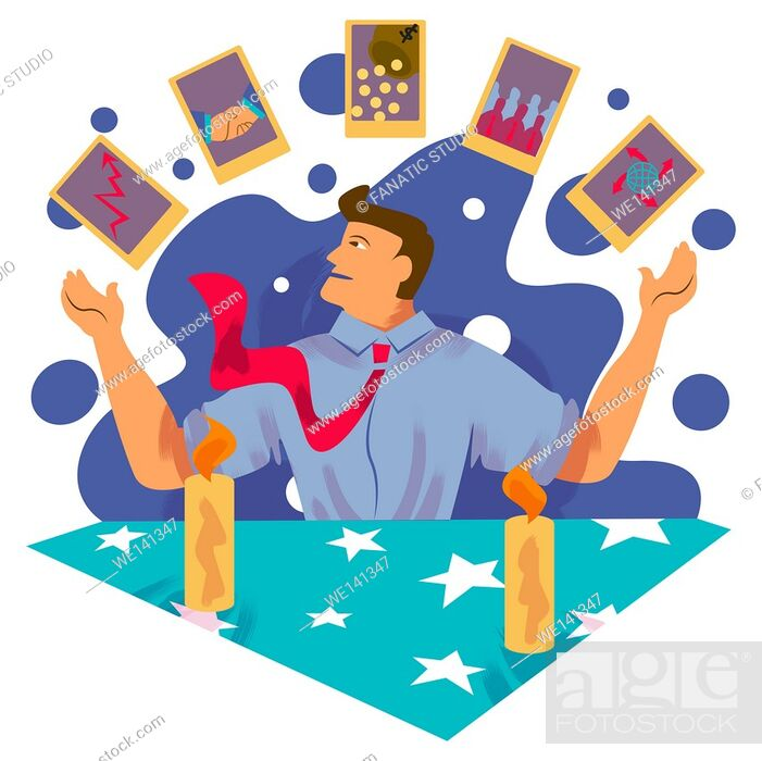 Stock Photo: Successful businessman juggling cards of business networking, growth chart and global business.