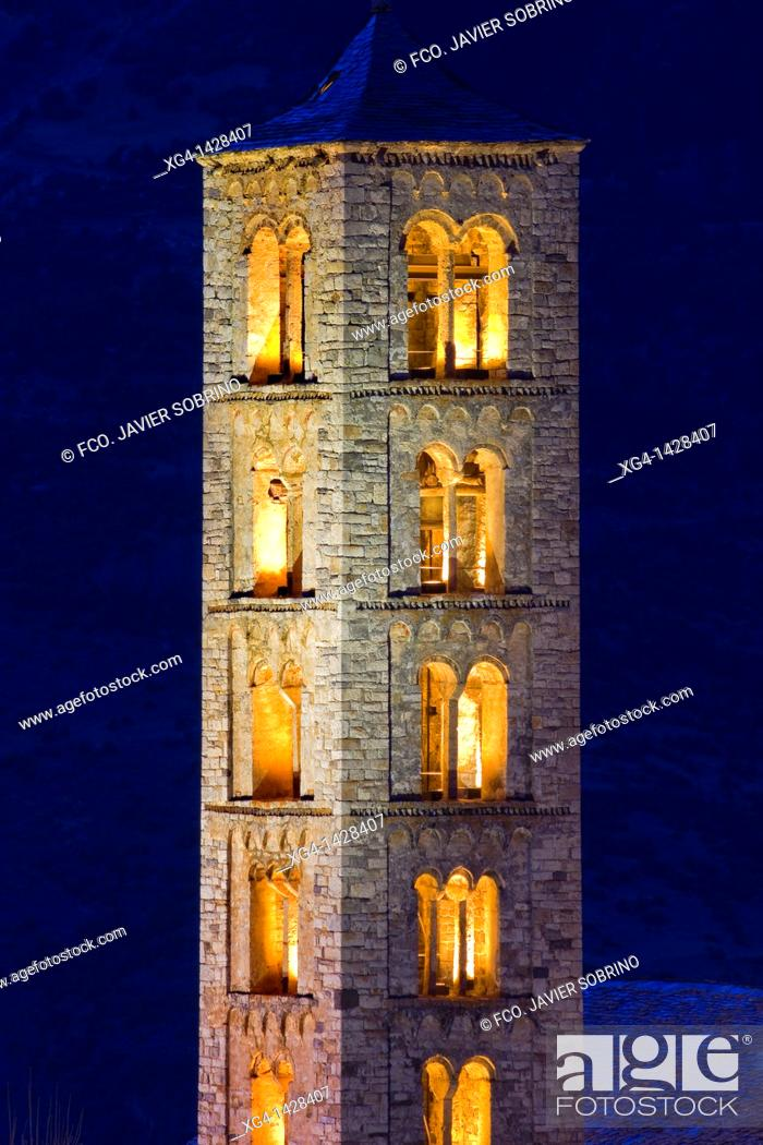 Stock Photo: Bell tower of the Romanesque church of Sant Climent lit -Taüll - Vall de Boi - Pyrenees - Lleida Province - Catalonia - Cataluña - Spain.