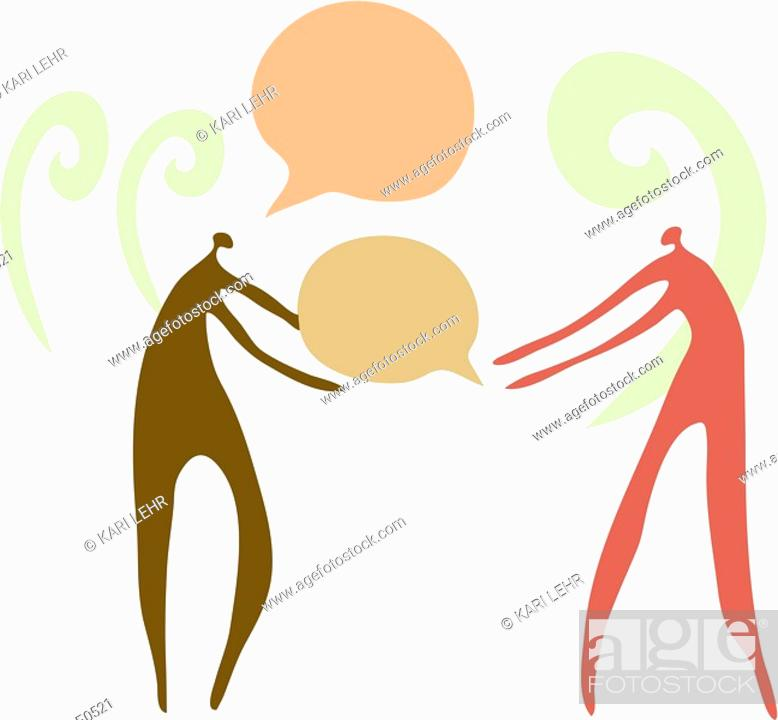 Stock Photo: One person giving voice to another.