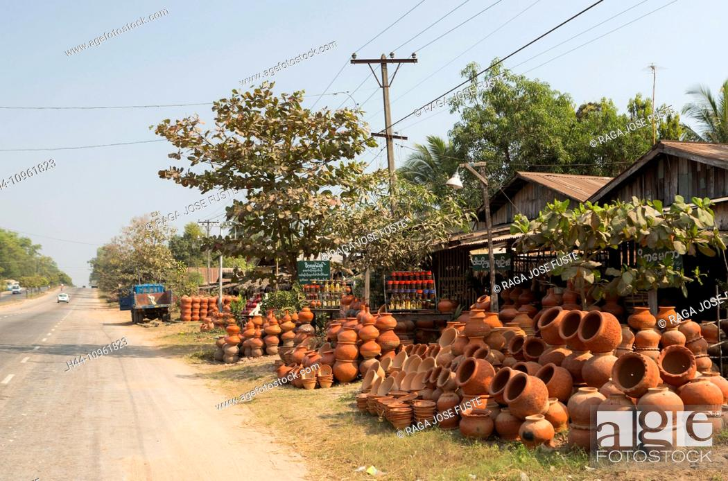 Stock Photo: Myanmar, Burma, Asia, Pegu, colourful, pottery, road, road side, shop, tourism, touristic, tradition, travel.