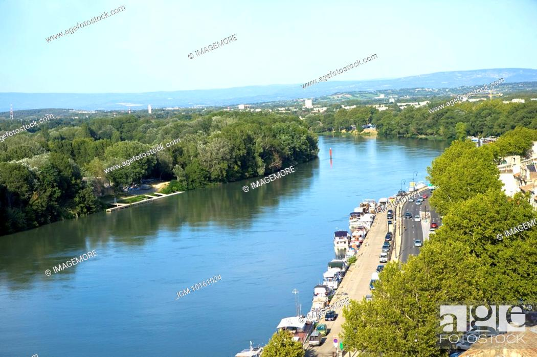 Stock Photo: Rhone River in Avignon, Provence-Alpes-Cote d'Azur, France.