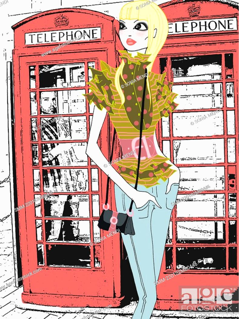 Stock Photo: Young woman in front of phone booths.