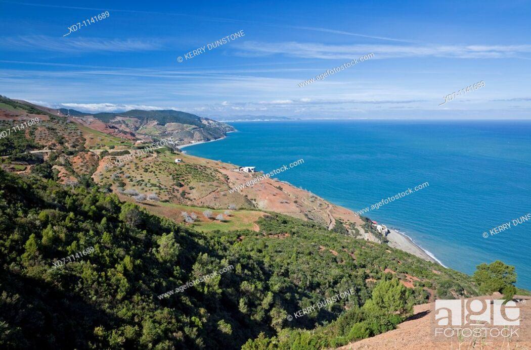 Stock Photo: Morocco Mediterranean Coast Tetouan Coastline near Cap Mazari.
