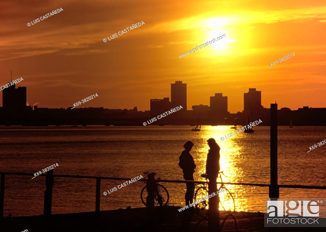 Stock Photo: Silhouettes at Sunset.