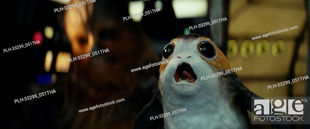 "Stock Photo: """"""Star Wars: The Last Jedi"""" (2017) L to R: Chewbacca with a Porg. Lucasfilm Ltd."