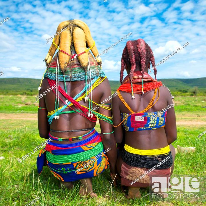 Stock Photo: Mwila people are an ethnic group living in southern Angola, in the area of Huila. They actually are part of the Nyaneka, a larger ethnic group.