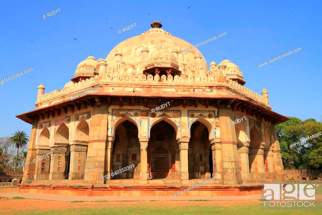 Stock Photo: Isa Khan's tomb is situated near the Mughal Emperor Humayun's Tomb complex in Delhi.