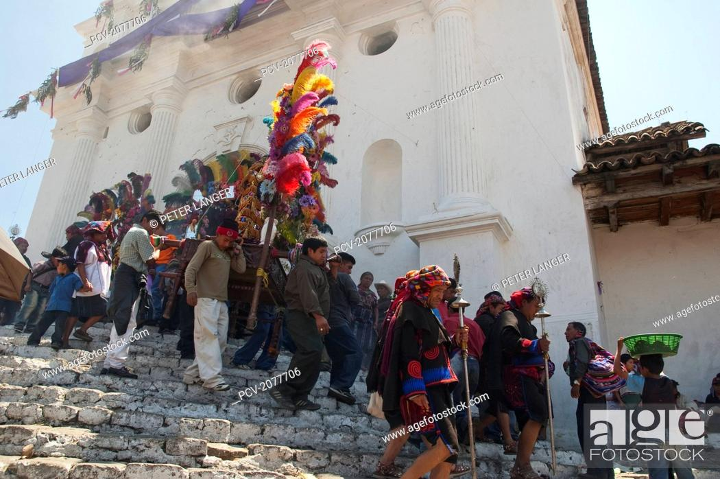 Stock Photo: On Easter Sunday The Comrades (Council Men) Carry The Andas (Floats) Of The Saints In Procession From The Santo Tom.