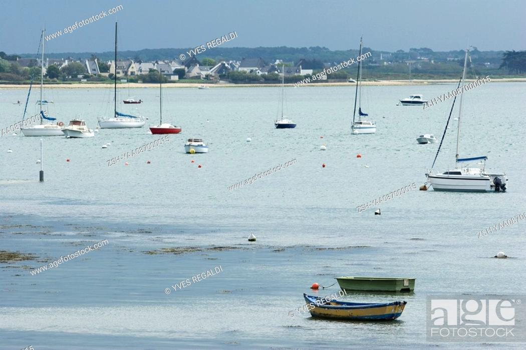 Stock Photo: Fishing boats in harbor, Brittany, France.