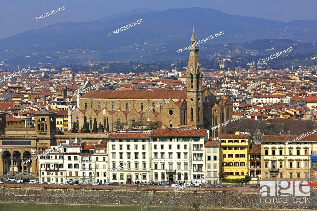 Stock Photo: Cityscape with Basilica Santa Croce in the Old Town, Florence, Tuscany, Italy, Europe.