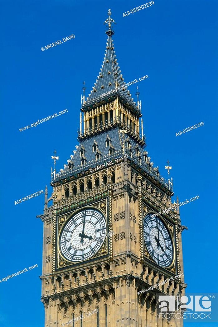 Stock Photo: England - London - Westminster district - Big Ben.
