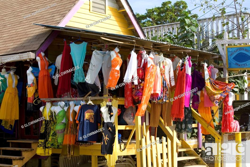 Stock Photo: Clothes hanging at a market stall, West End, Roatan, Bay Islands, Honduras.