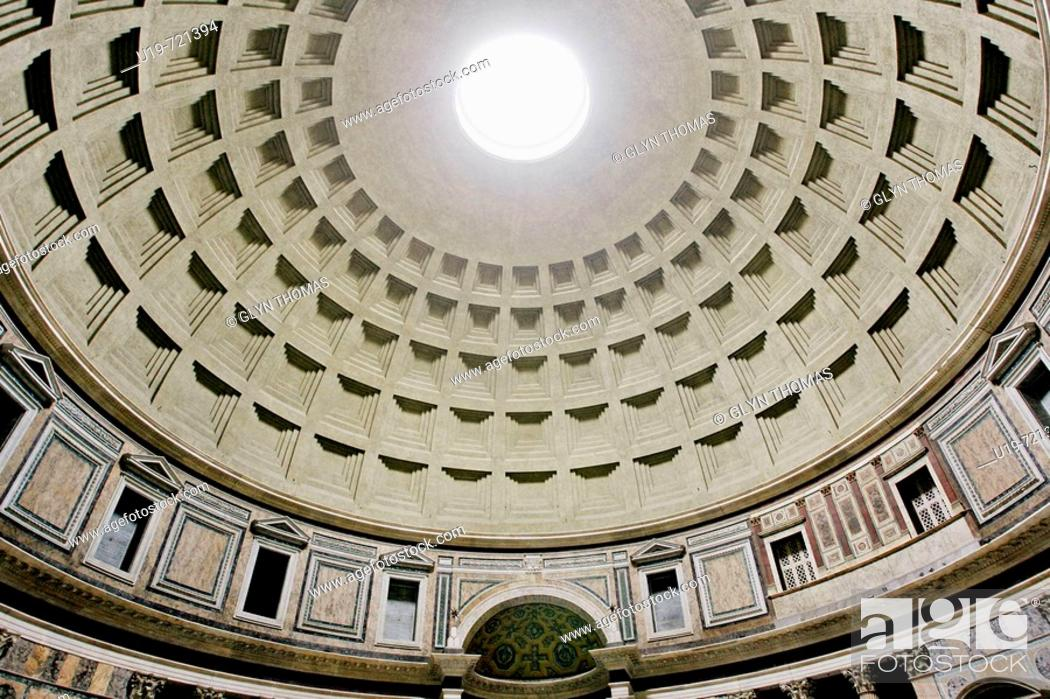 Stock Photo: Dome of the Pantheon Basilica Santa Maria ad Martyres, Rome, Italy, Europe.