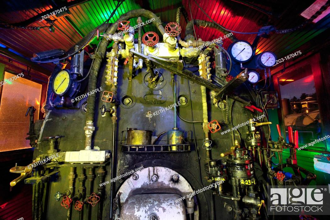 Stock Photo: Interior view of a Steam Locomotive, Texas State Railroad, 1881, Rusk Texas.