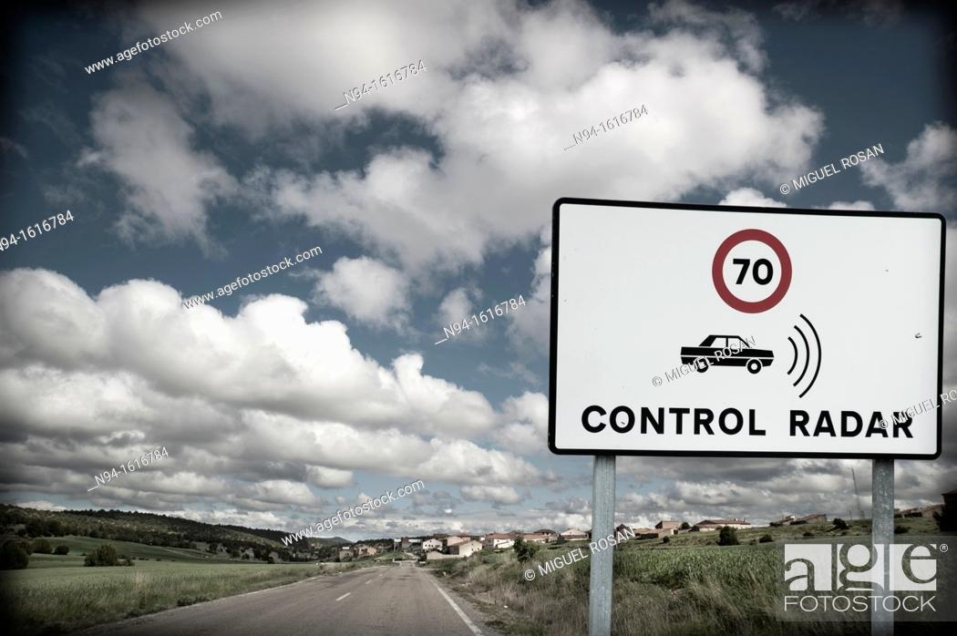 Stock Photo: Road Traffic Badge, Report-controlled speed limit radar.