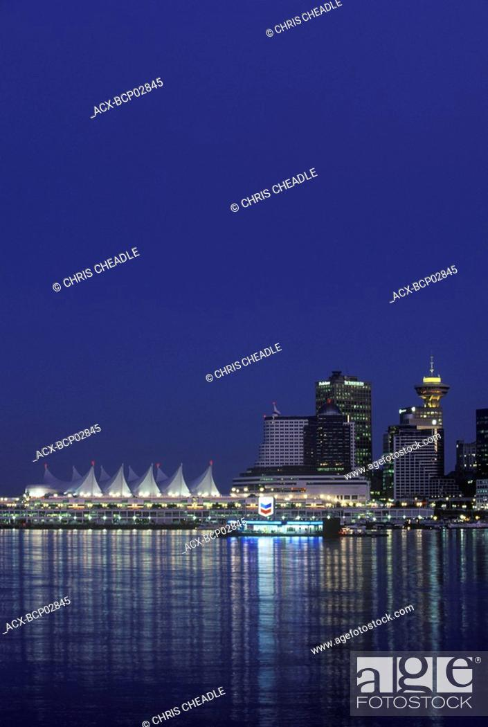 Stock Photo: View of downtown and canada place from Stanley Park, Vancouver, British Columbia, Canada.