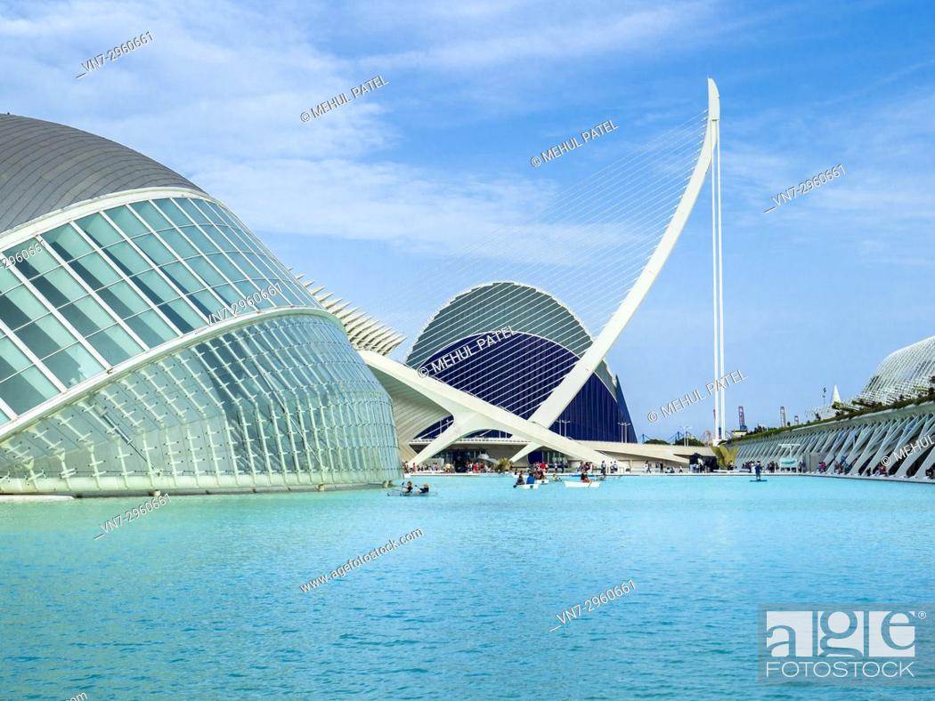 Stock Photo: Boating on the waters of the City of Arts and Sciences complex, Valencia, Spain.
