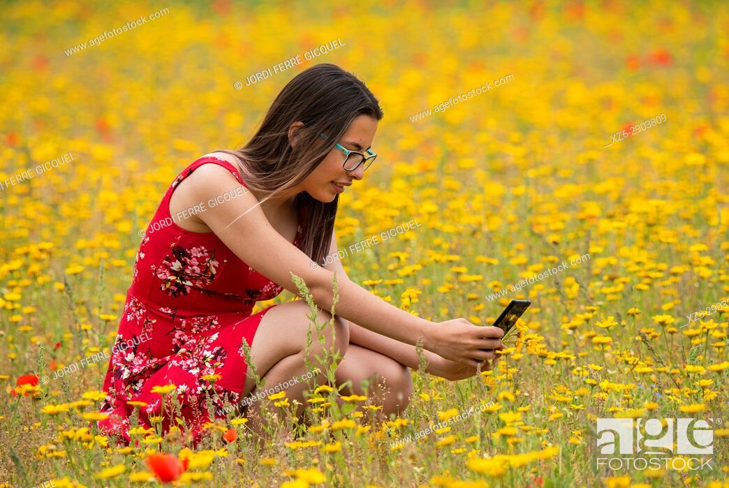 Imagen: Girl with a red dress taking a photograph to a flower with a mobile in a yellow field.