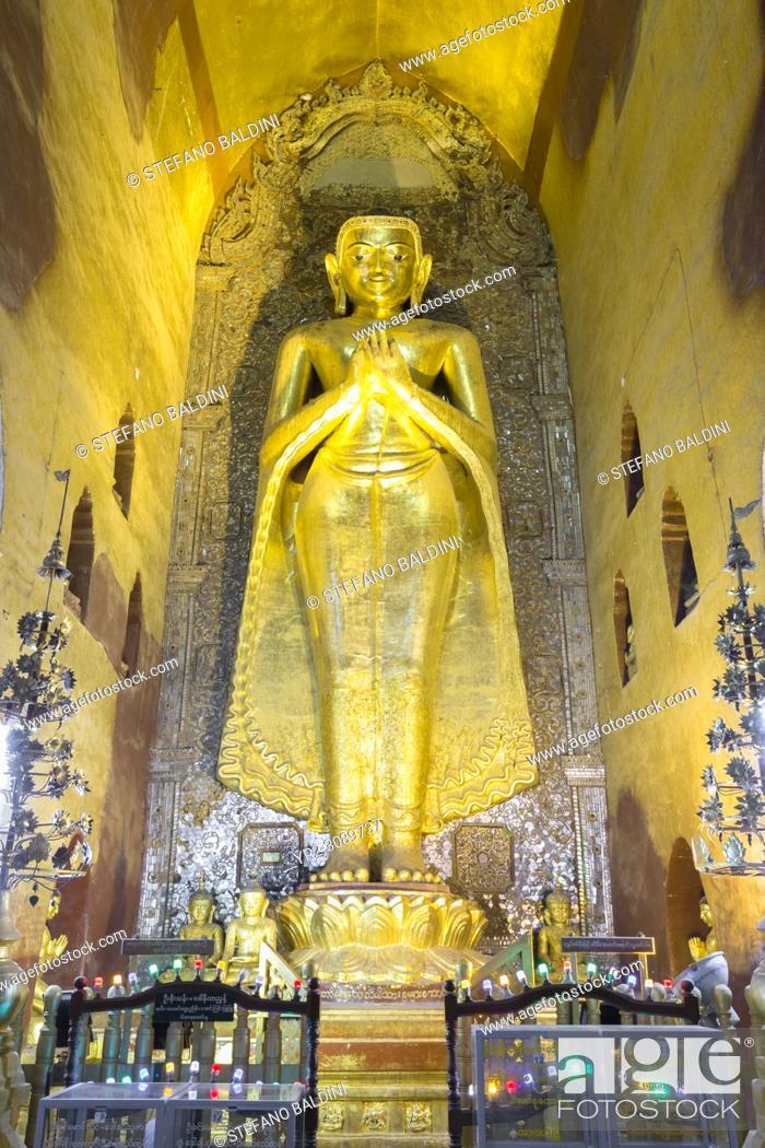 Stock Photo: North facing Kakusandha Buddha statue, gilded wood, Ananda temple, Bagan, Myanmar.