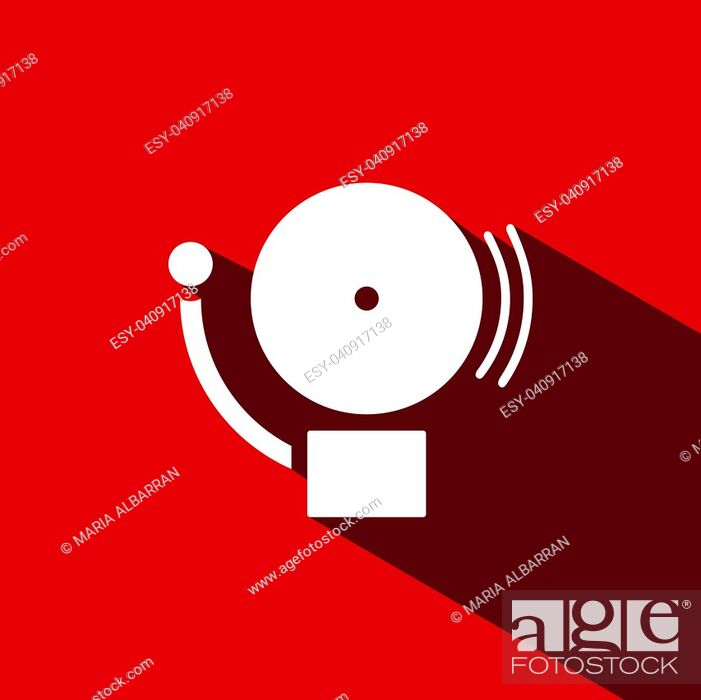 Stock Vector: Alarm icon with shade on a red background. Vector illustration.
