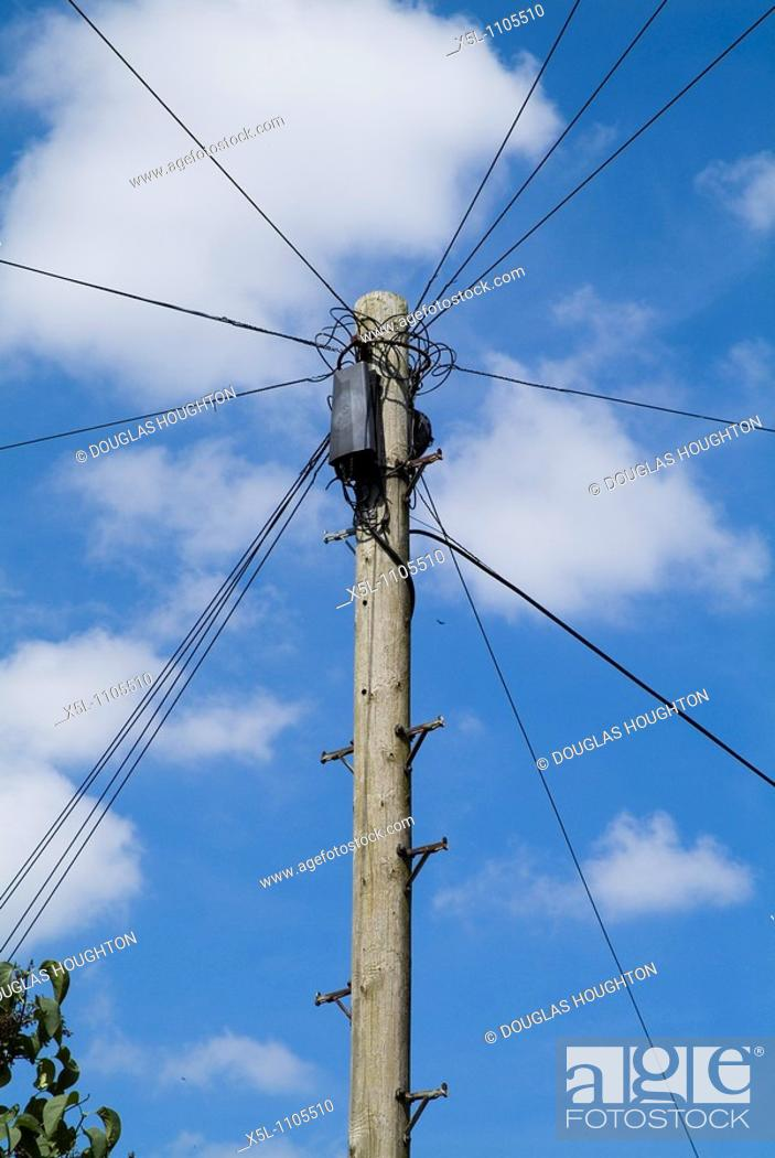 Stock Photo: TELEPHONE COMMUNICATIONS Telephone wire junction box pole.