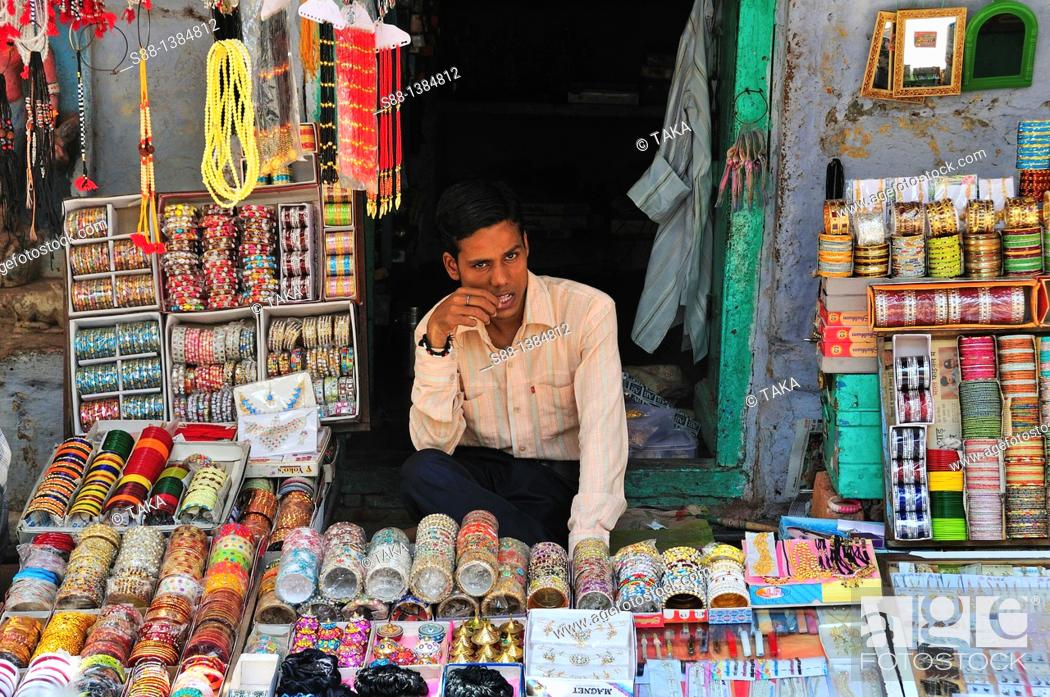 Stock Photo: Shopping street near the Ganges river.