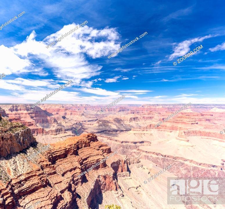 Stock Photo: South rim of Grand Canyon in Arizona USA Panorama.