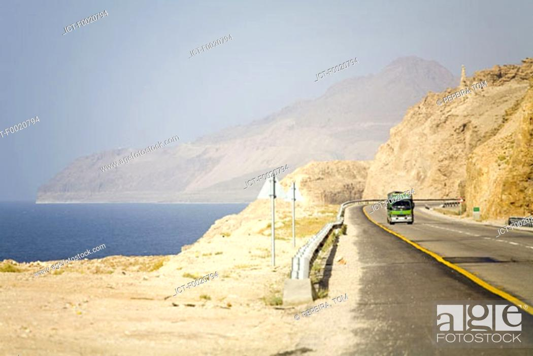 Stock Photo: Jordan, road by the Dead Sea.