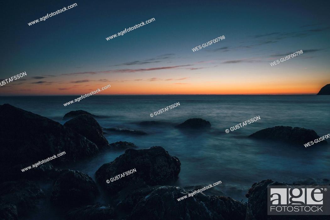 Stock Photo: Norway, Lofoten, Moskenesoy, Kvalvika Beach at sunset.
