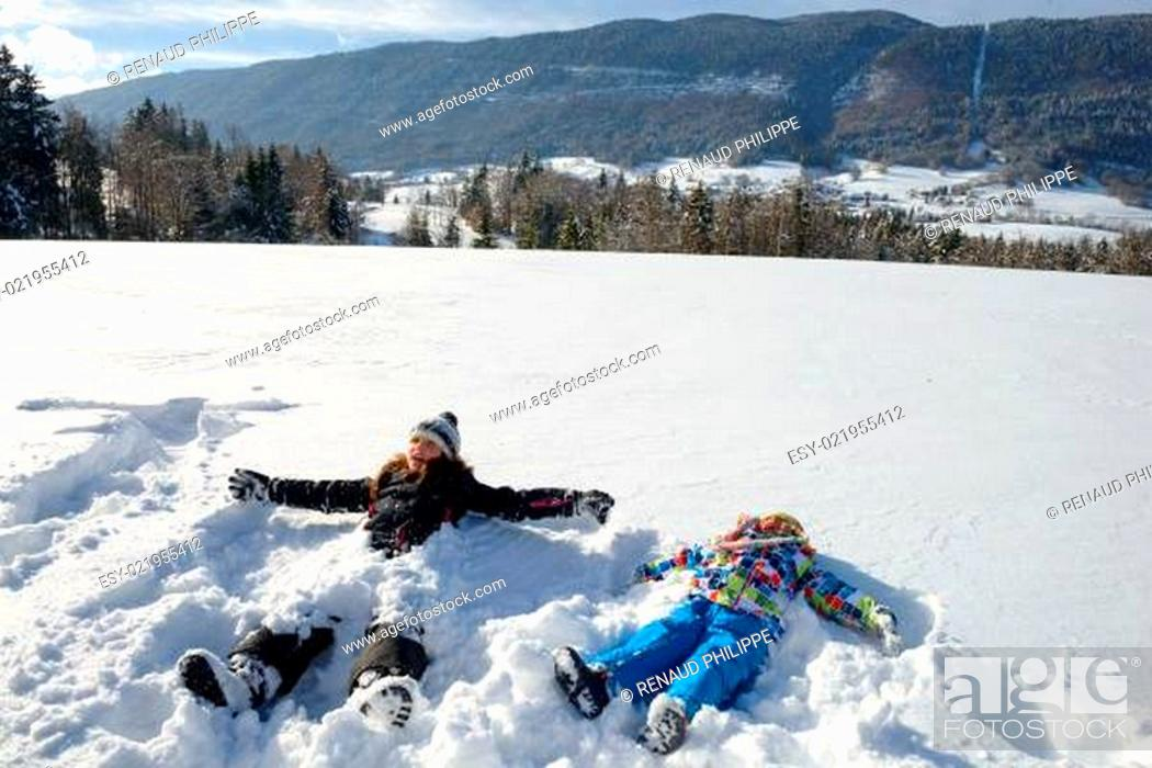 Stock Photo: two children in the snow.