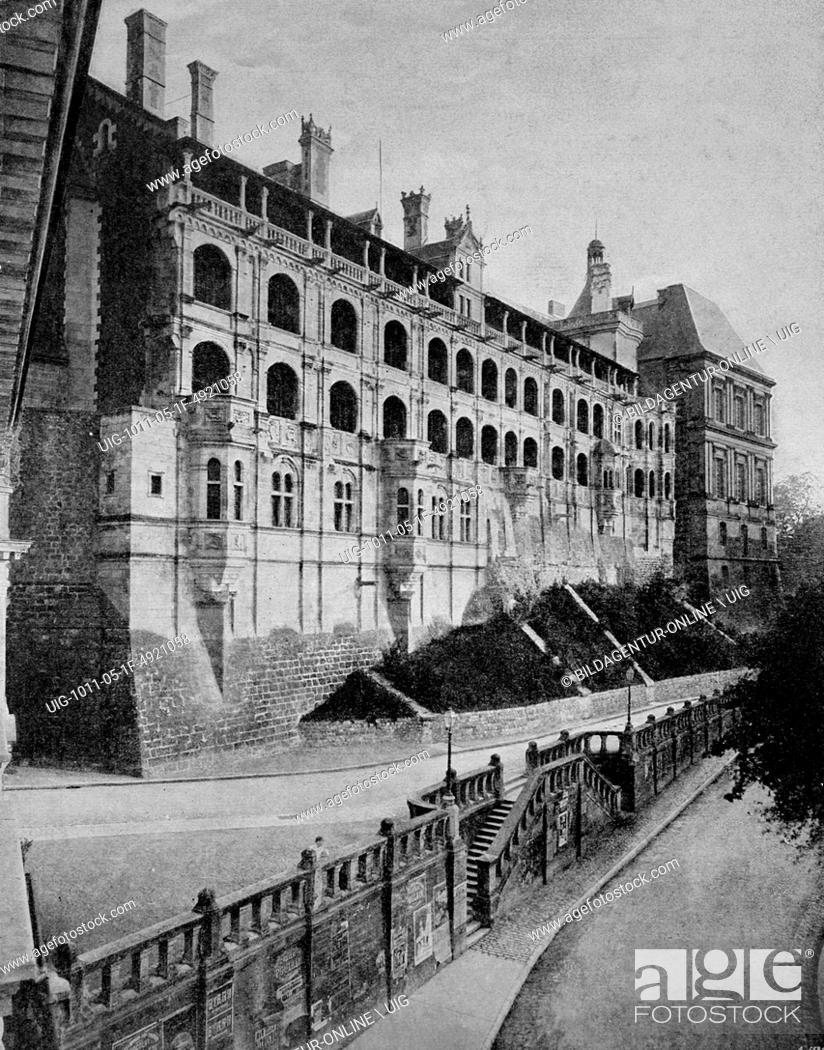 Imagen: Early autotype of chateau de blois palace, loir-et-cher, france, historical photograph, 1884.