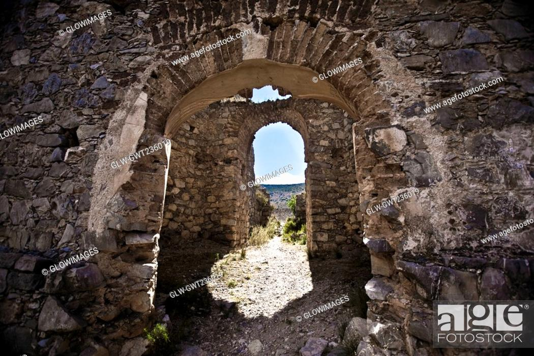Stock Photo: Old ruins of a building, Real De Catorce, San Luis Potosi, Mexico.