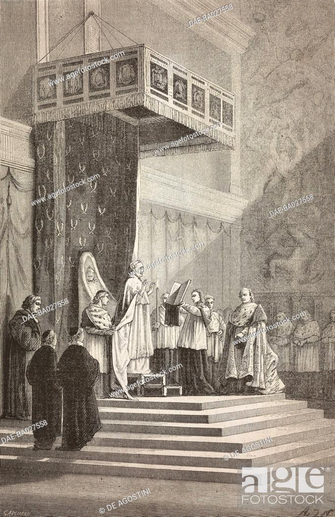 Stock Photo: Pope Pius IX officiating in the Sistine Chapel, Vatican, drawing by Alphonse de Neuville (1835-1885), after a sketch by Elie Delaunay (1828-1891).