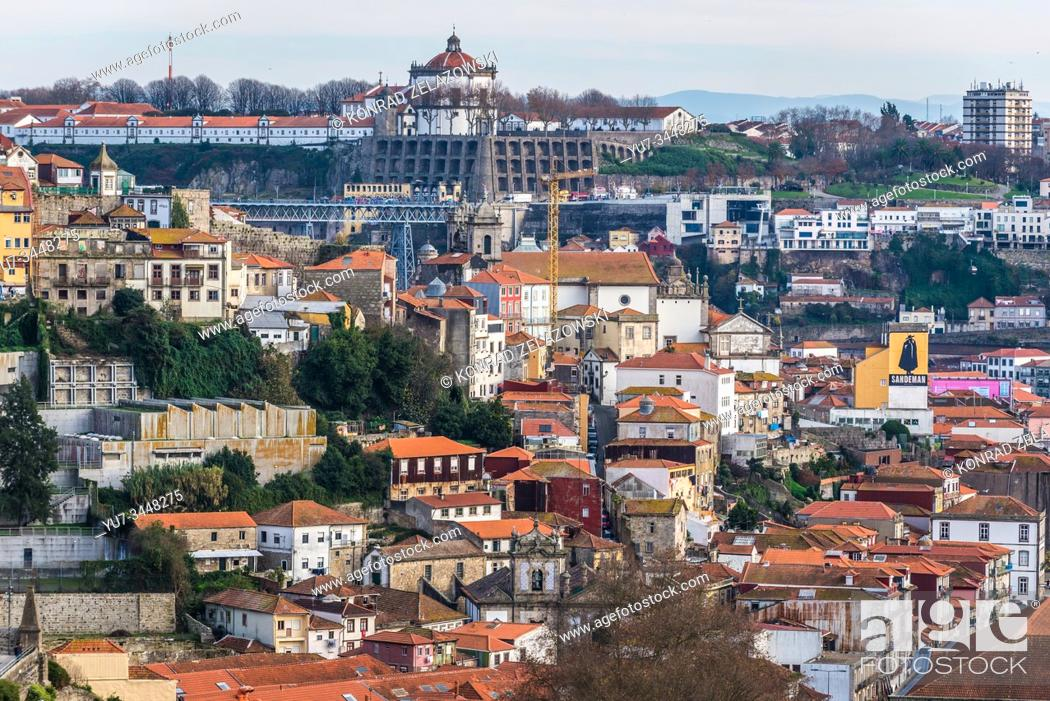 Stock Photo: Aerial view from Crystal Palace Gardens on the Old Town of Porto city, Portugal. Monastery of Serra do Pilar in Vila Nova de Gaia city on background.