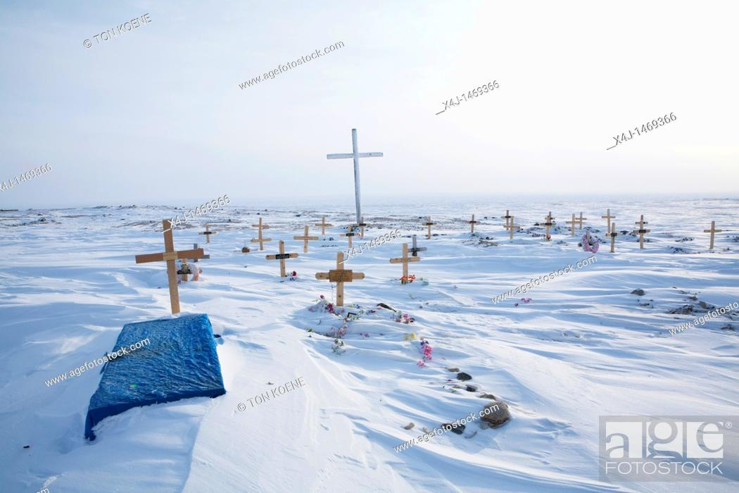 Stock Photo: grave yard at the north pole.