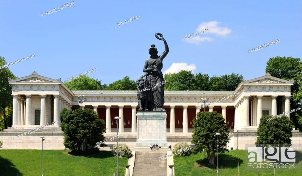 Stock Photo: Bavaria statue with Hall of Fame at the Theresienhoehe in Munich, Upper Bavaria, Bavaria, Germany, Europe.