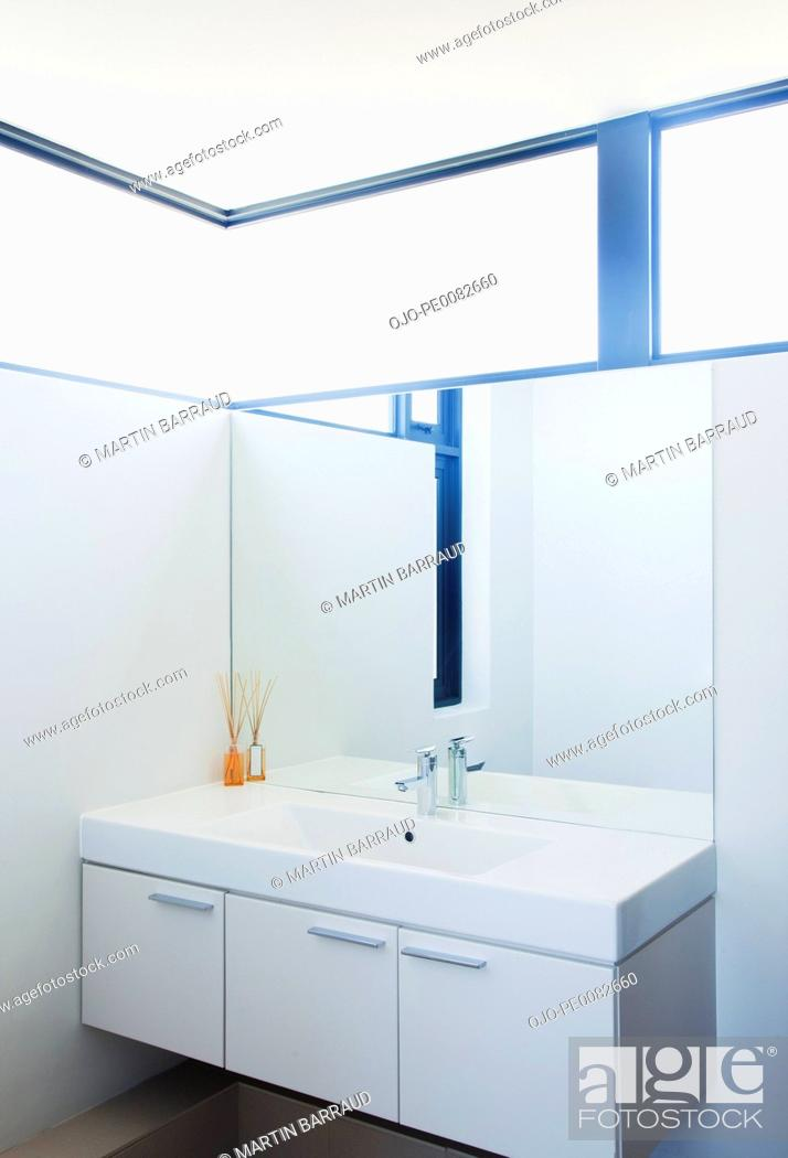Stock Photo: Sink and mirror in modern bathroom.