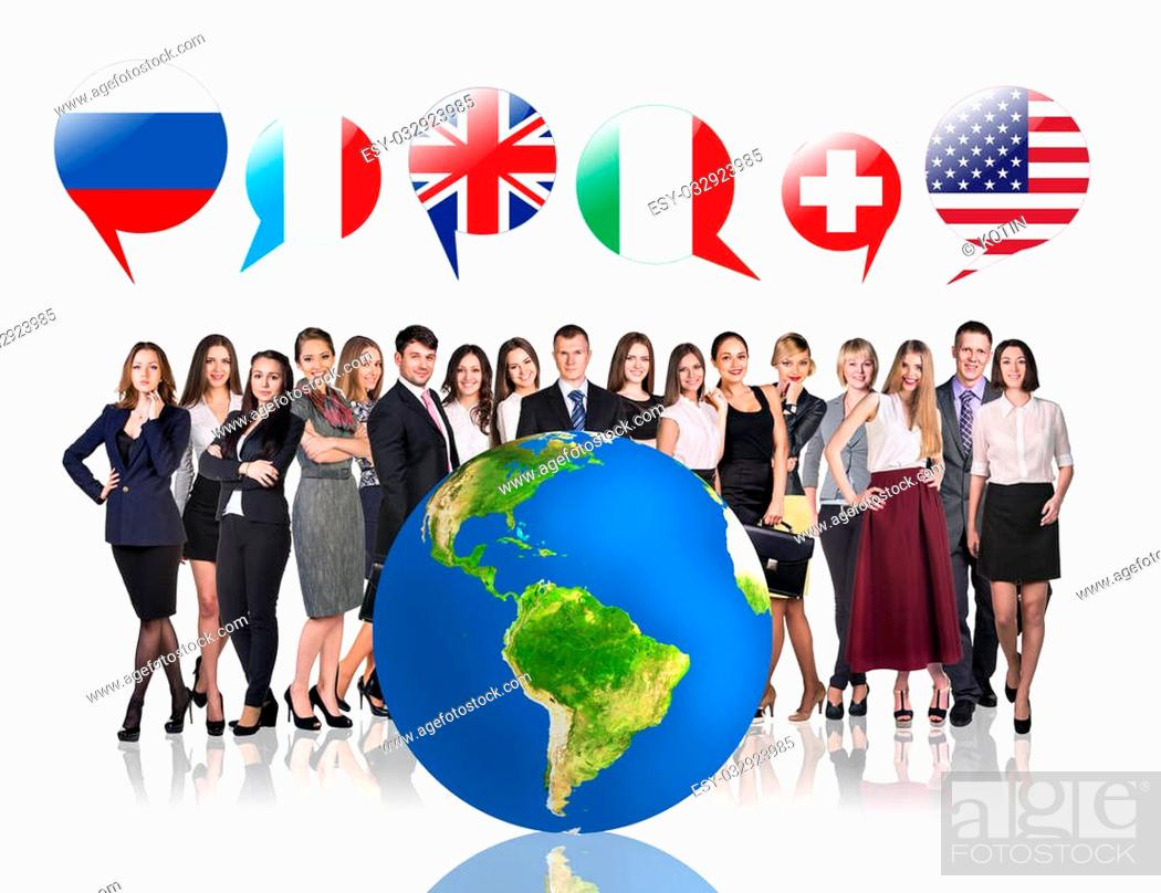 Imagen: Business people near big earth and flag bubbles.Elements of this image furnished by NASA.
