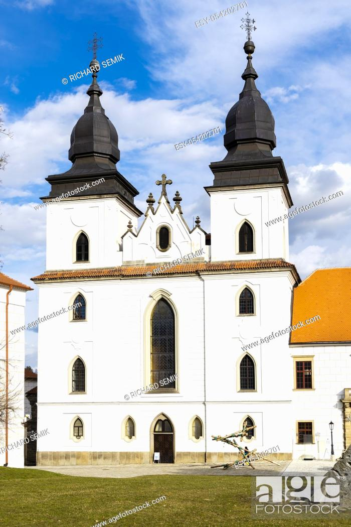 Stock Photo: St. Procopius basilica and monastery, town Trebic, UNESCO site, (oldest Middle ages settlement of jew community in Central Europe), Moravia, Czech Republic.